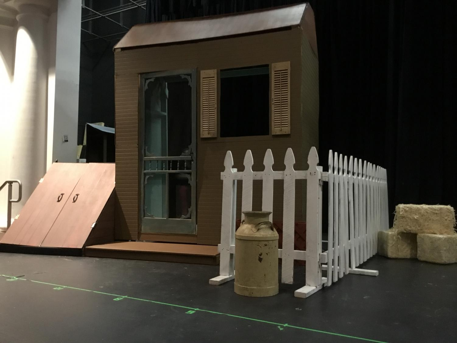 Students build their own sets for school musical.